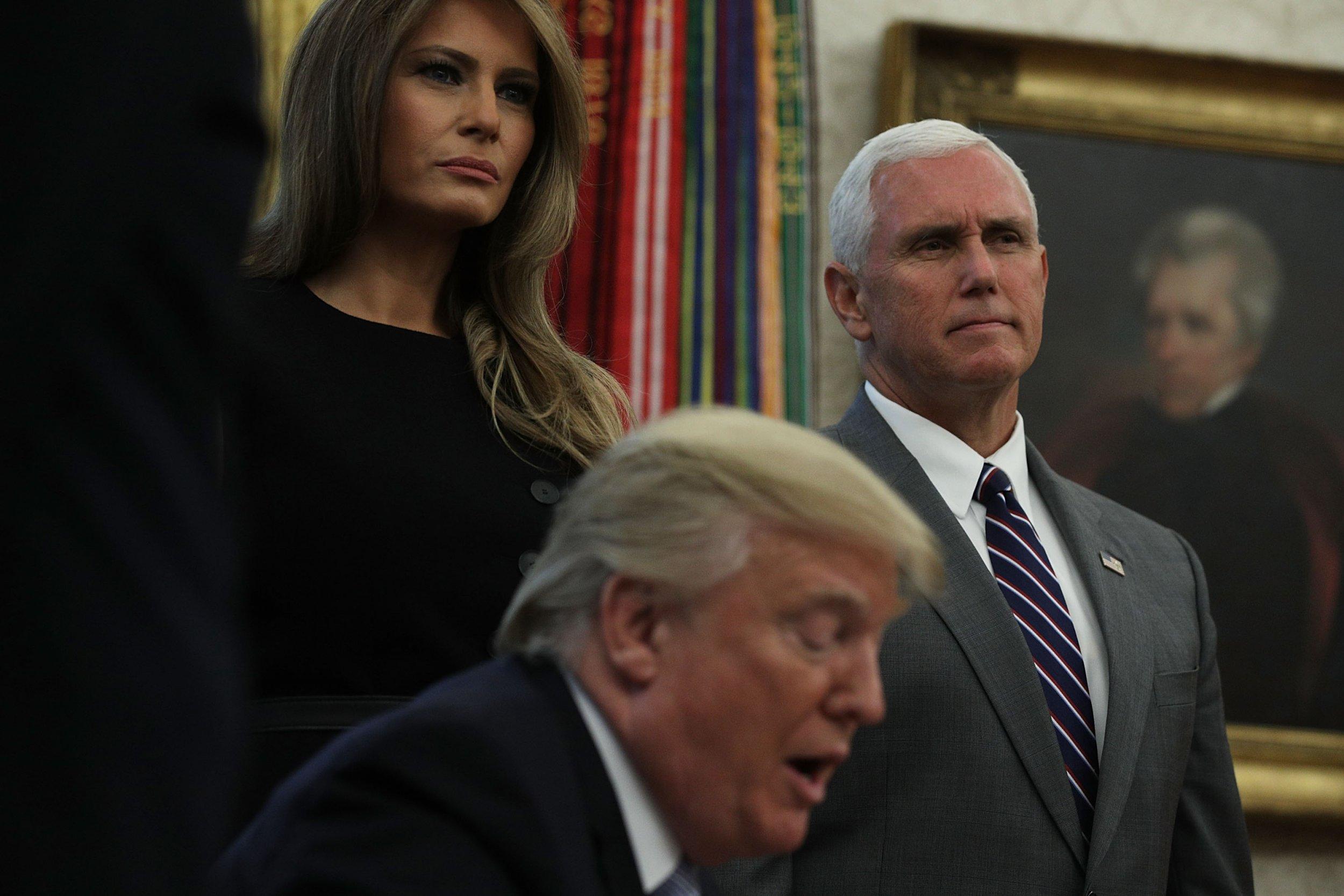 Mike Pence, Donald Trump, Melania Trump