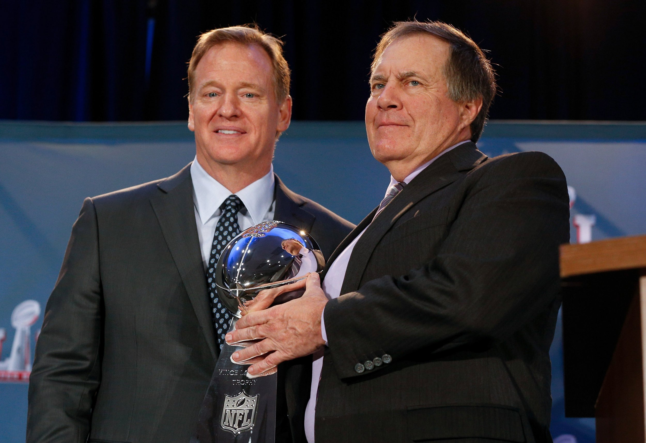 NFL Commissioner Roger Goodell, left, with New England Patriots head coach Bill Belichick.