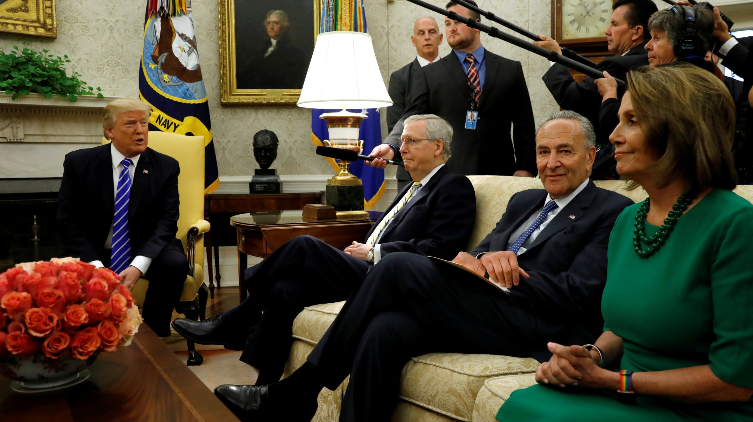 Donald Trump, Nancy Pelosi, Mitch McConnell, Chuck Schumer