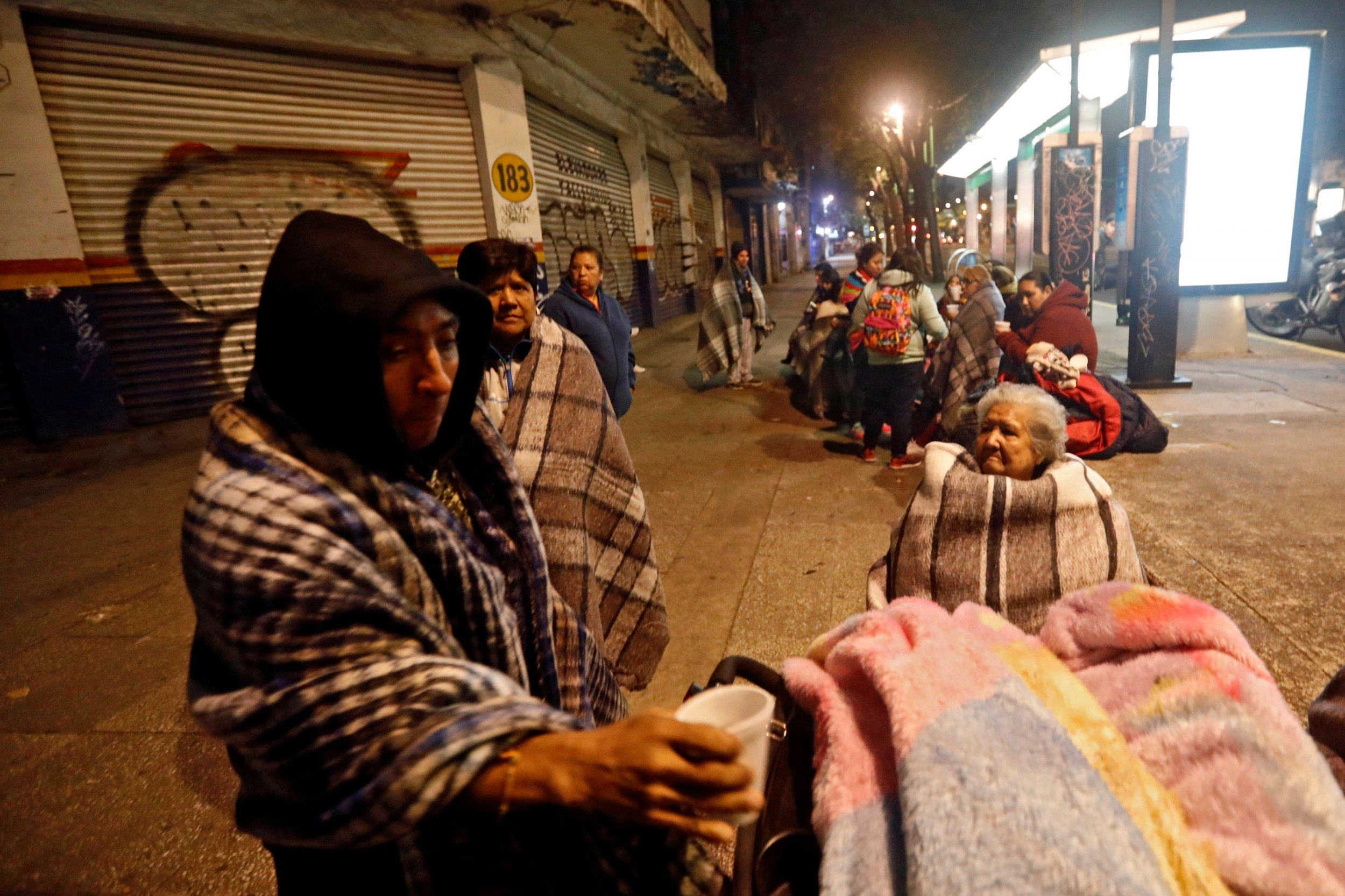 Mexico earthquake, people gather in the street