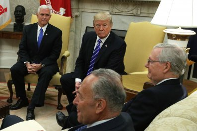 Mike Pence, Donald Trump, Mitch McConnell, Chuck Schumer