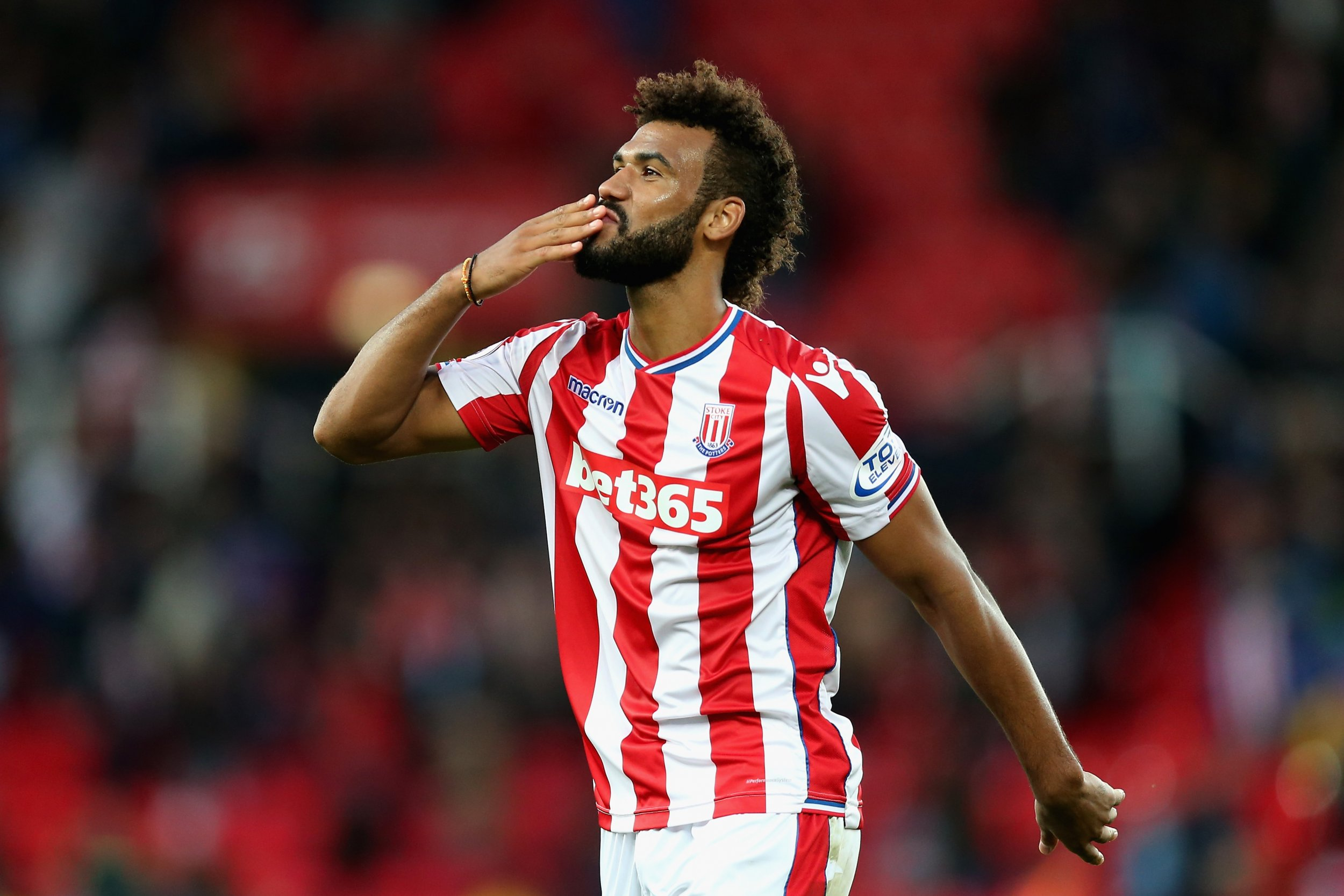 Eric Choupo-Moting of Stoke City at Bet365 Stadium, Stoke, September 9.