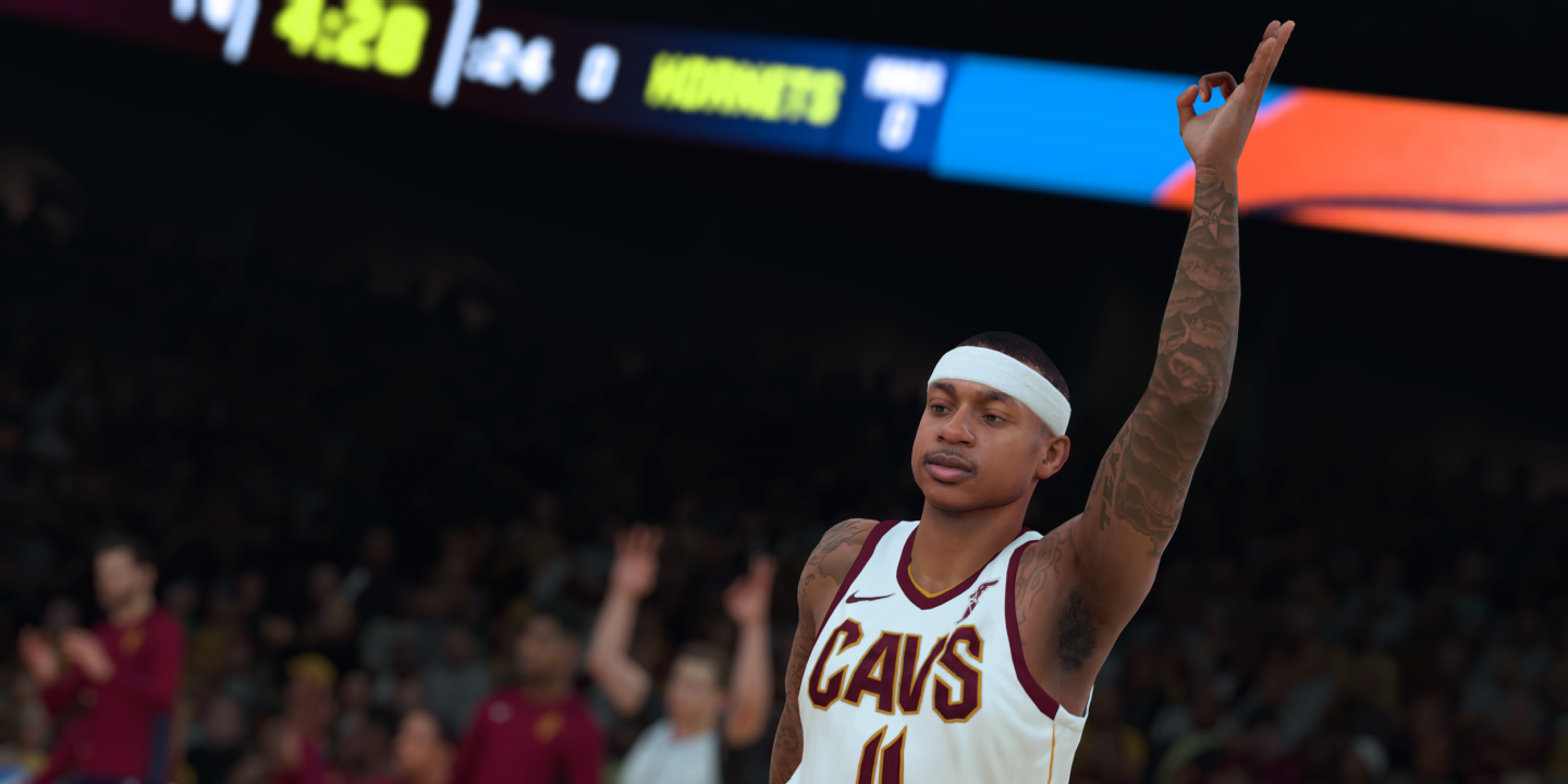 7c93d9361 The NBA2K18 likeness of Isaiah Thomas, now of the Cleveland Cavaliers,  celebrates a 3-pointer, a staple of the modern NBA. 2K