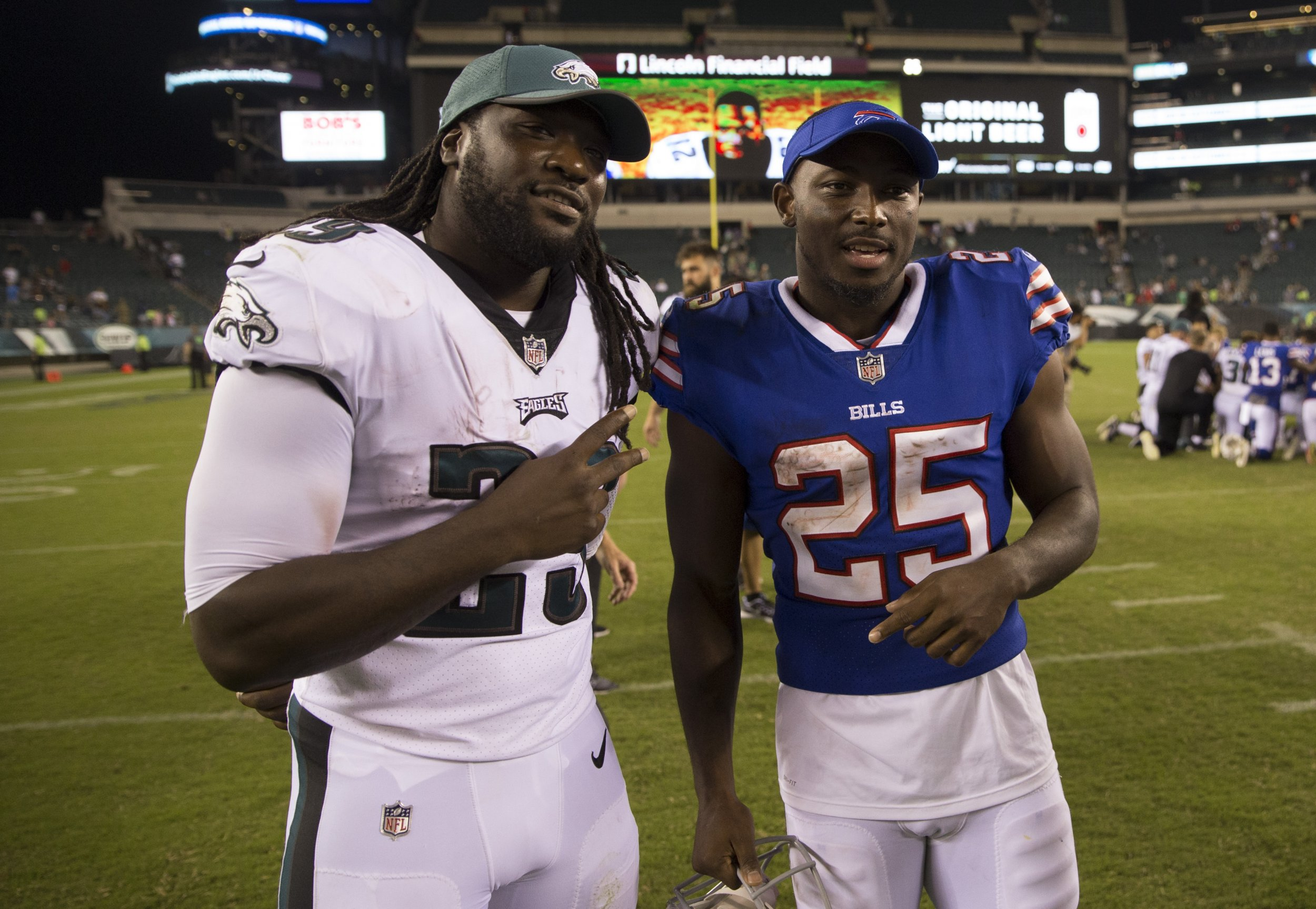 Philadelphia Eagles running back LeGarrette Blount, left.