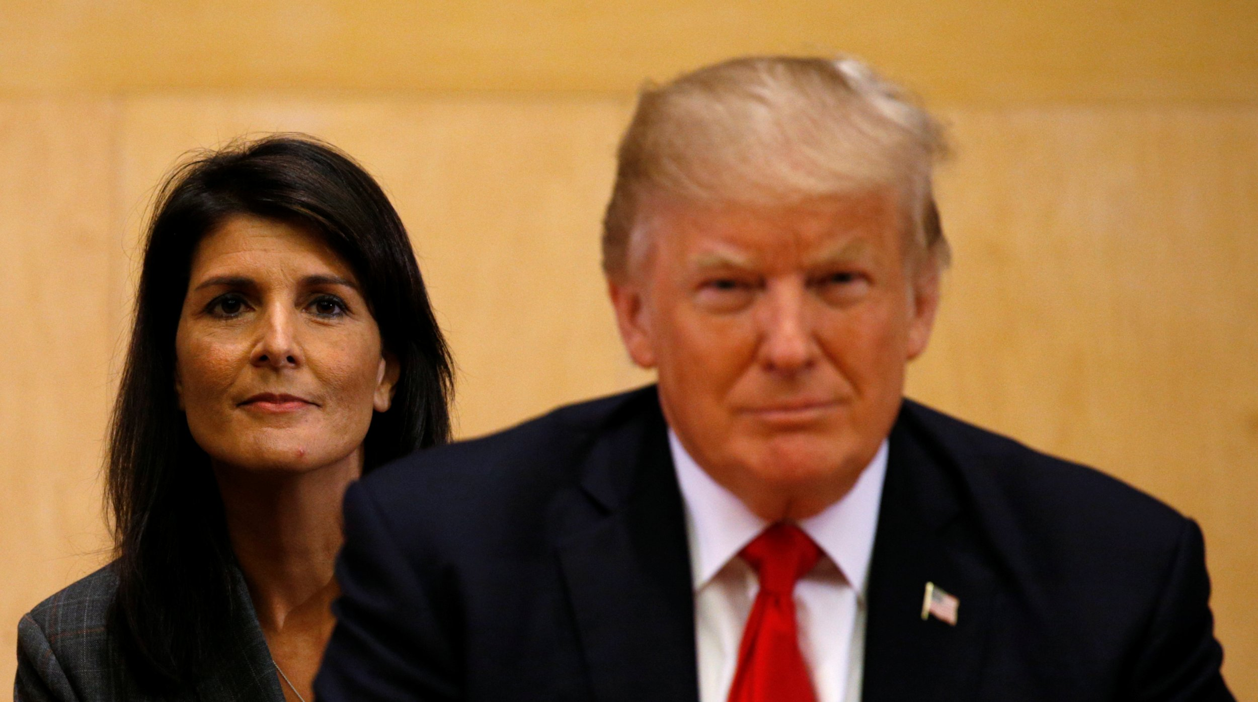 U.S. Ambassador to the U.N. Nikki Haley (L) and U.S. President Donald Trump