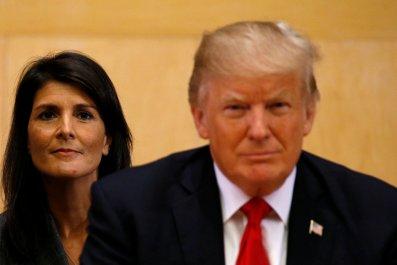 U.S. Ambassador to the U.N. Nikki Haley (L) and U.S. President Donald Trump