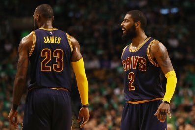 Kyrie Irving, right, with LeBron James.