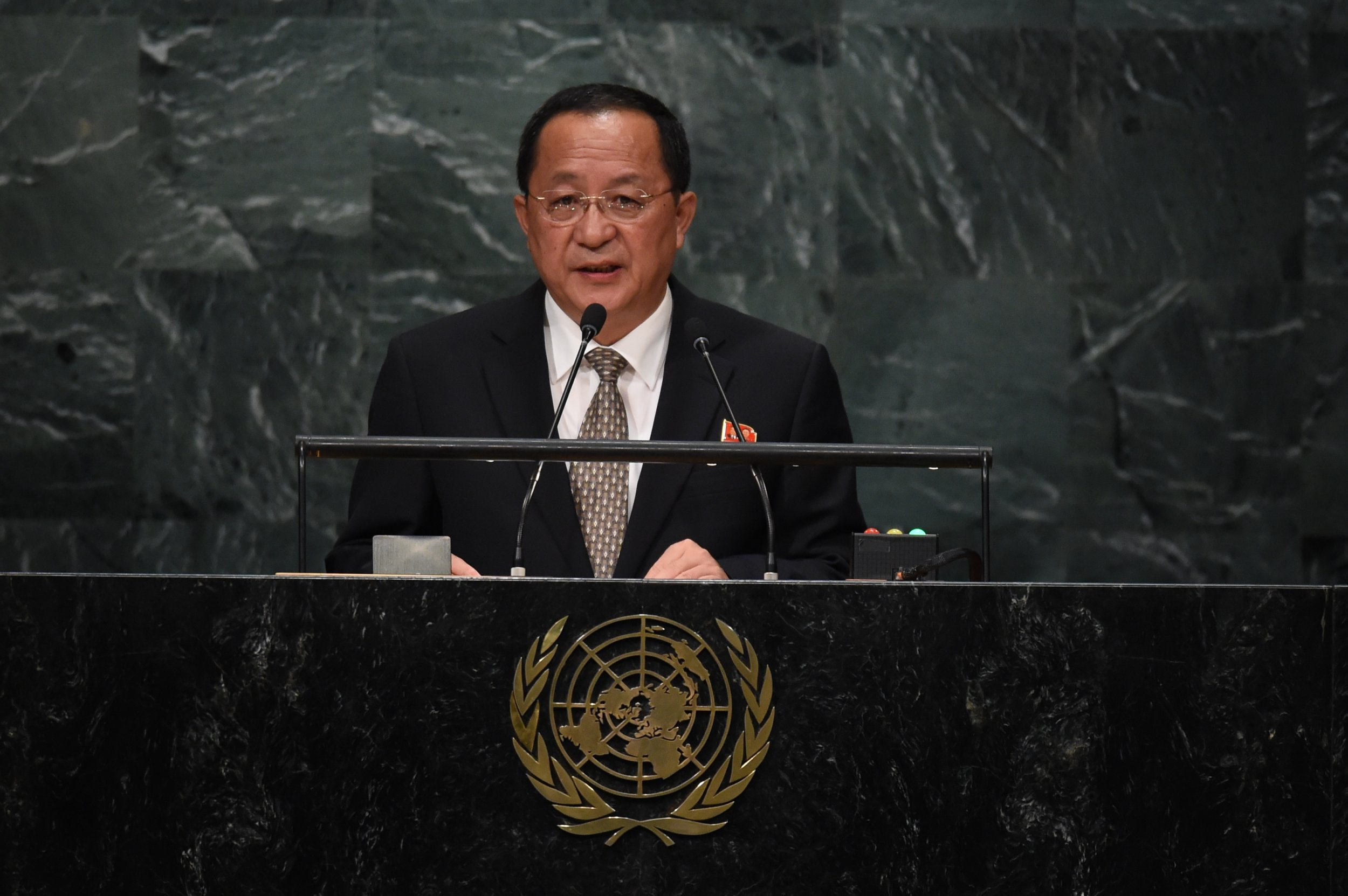 North Korea foreign minister Ri Yong Ho is addressing the U.N. on Kim Jong Un's behalf