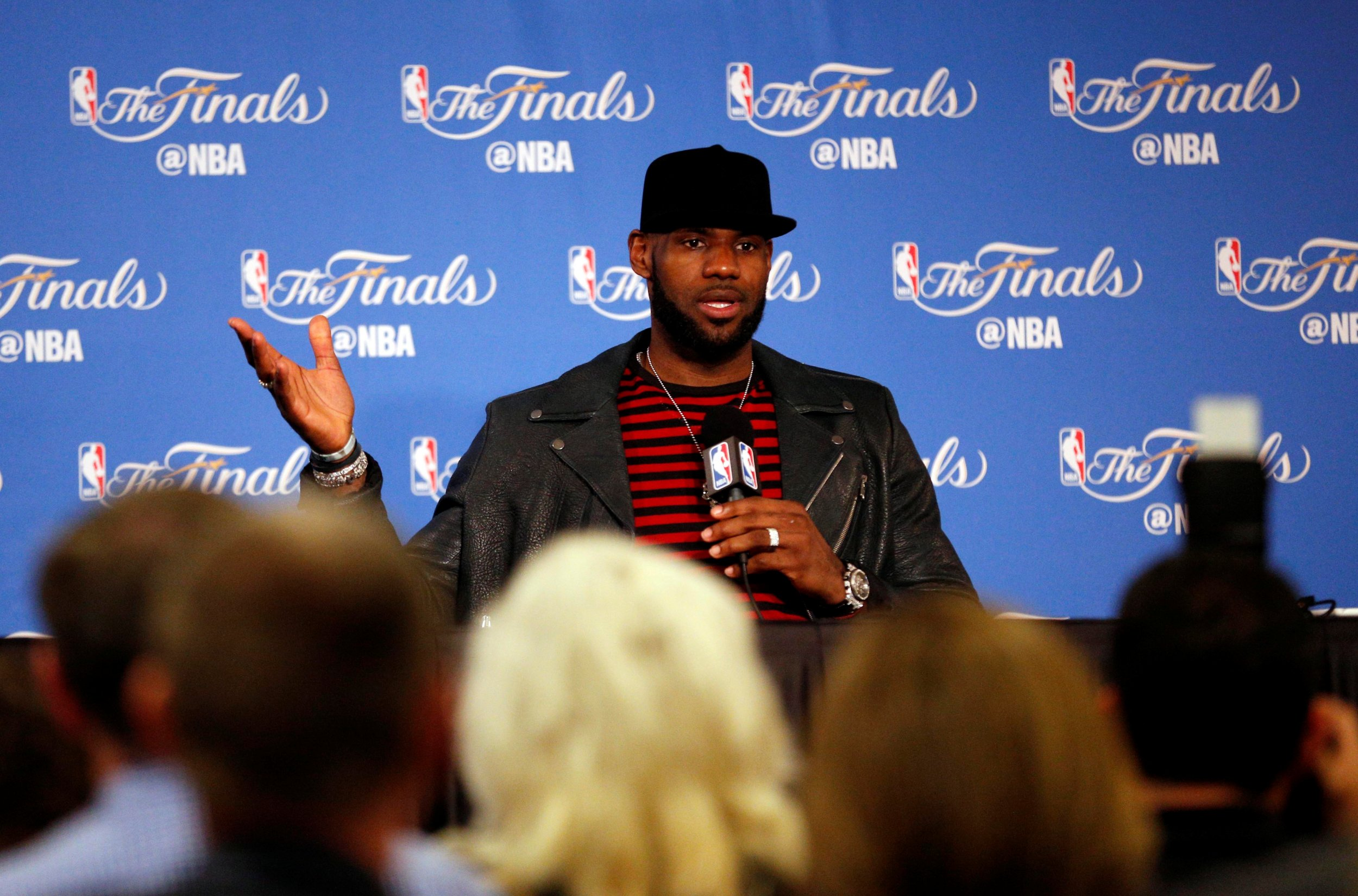 b3db610ace3b Cleveland Cavaliers forward LeBron James at a press conference after game  five of the 2017 NBA Finals against the Golden State Warriors at Oracle  Arena.
