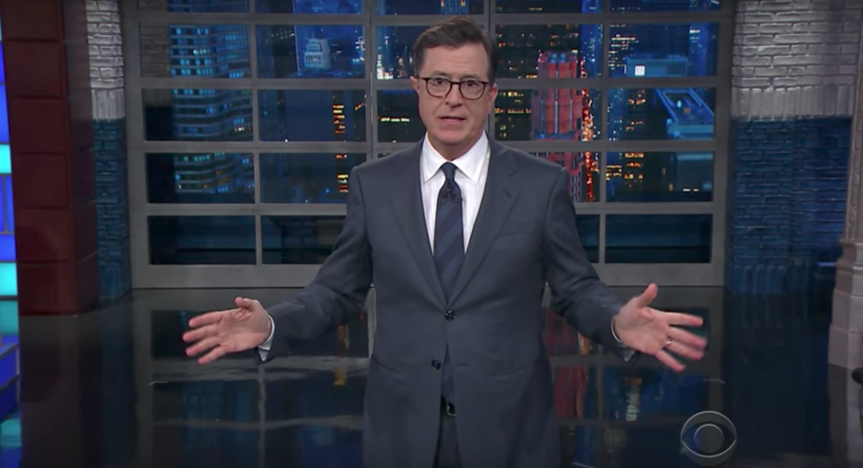 Colbert jokes about Trump kneeling for presidency