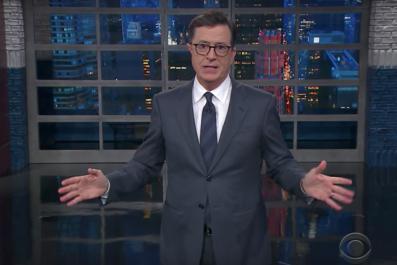 Colbert jokes about Trump kneeling for presidency