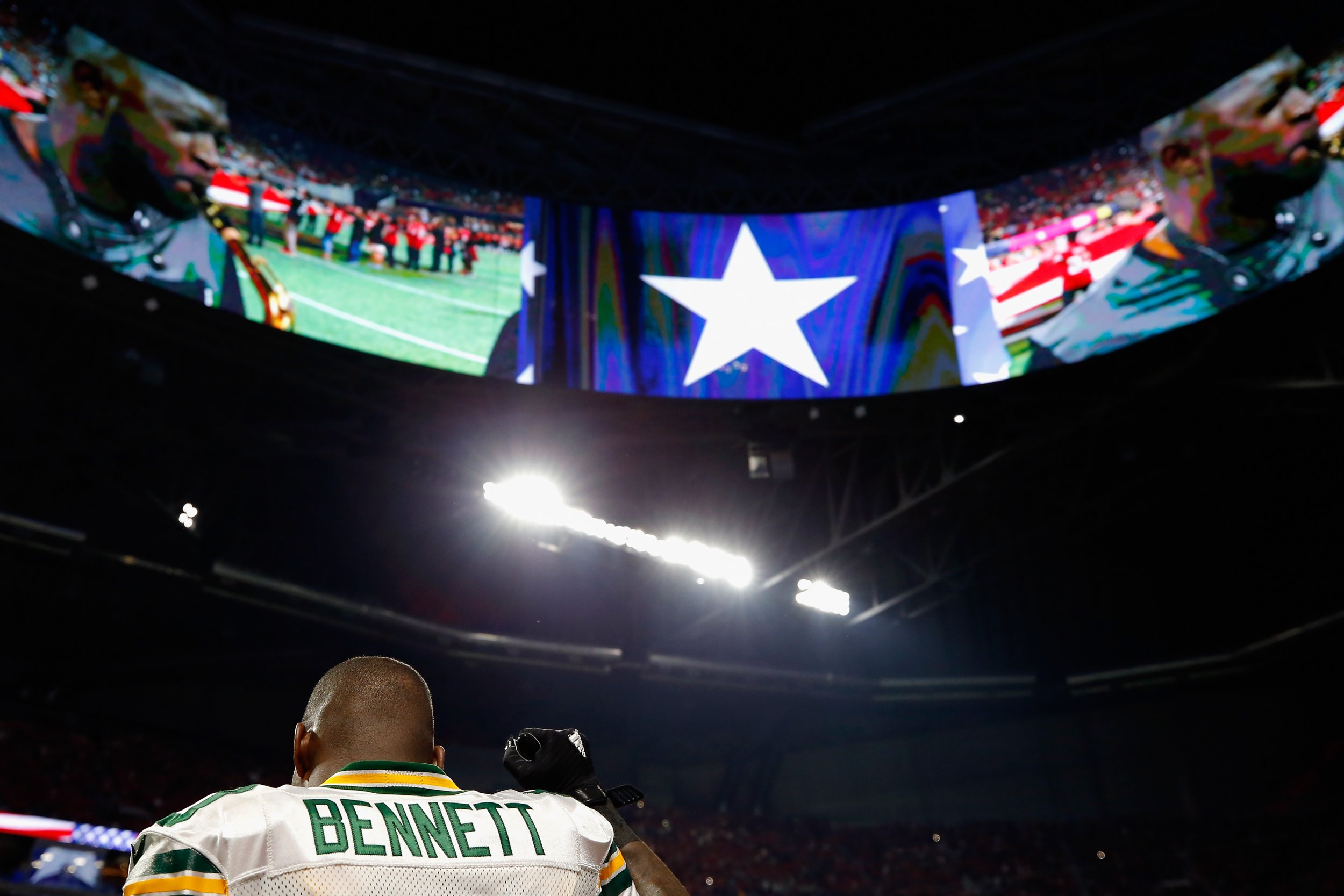 Martellus Bennett of the Green Bay Packers at Mercedes-Benz Stadium, Atlanta, September 17.