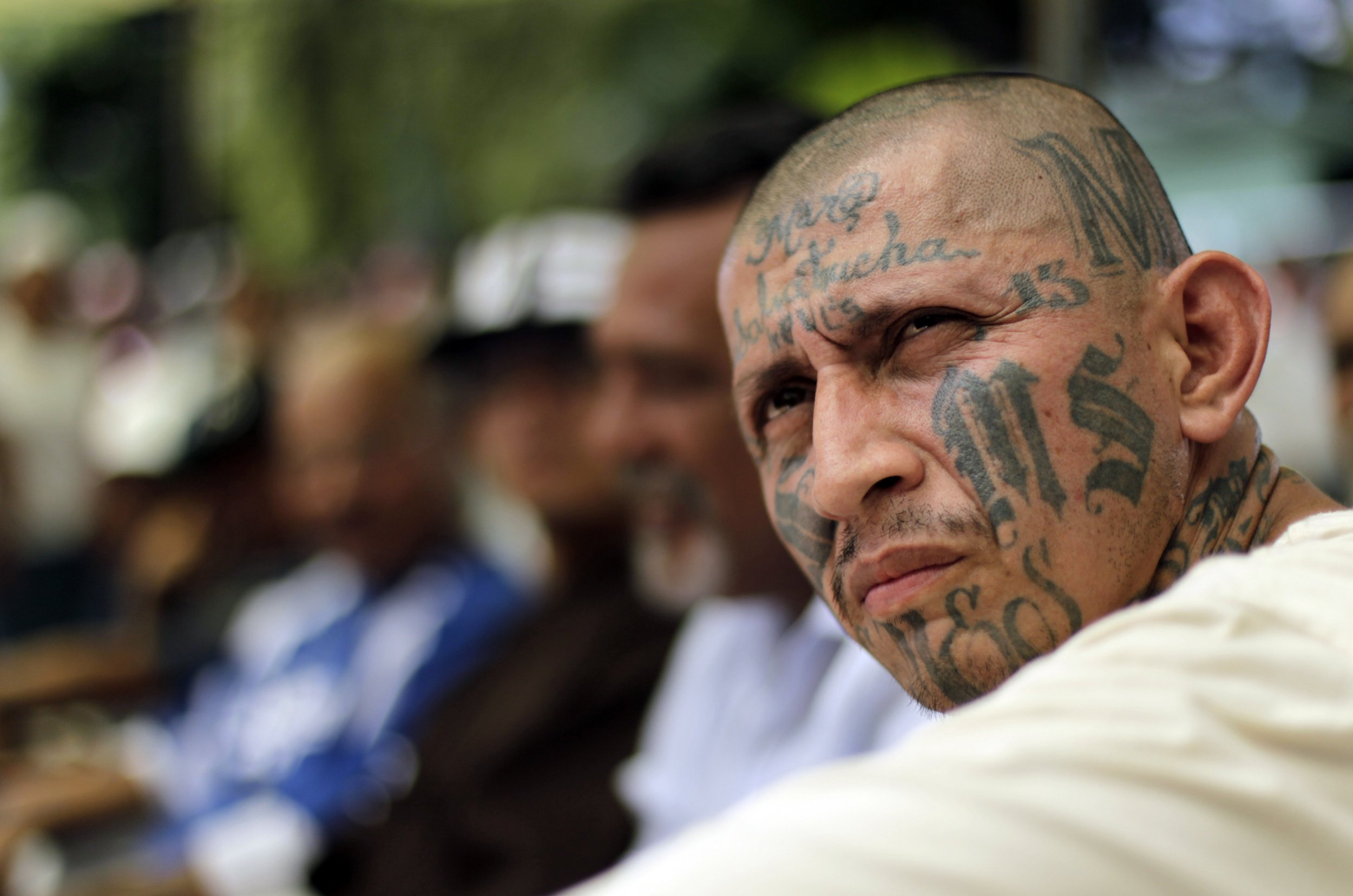 pretty nice 582d1 b8539 An MS-13 gang leader attends the Day of the Virgin of Mercy celebrations at  a prison in San Salvador on September 24, 2012. Gang leaders in El Salvador  ...