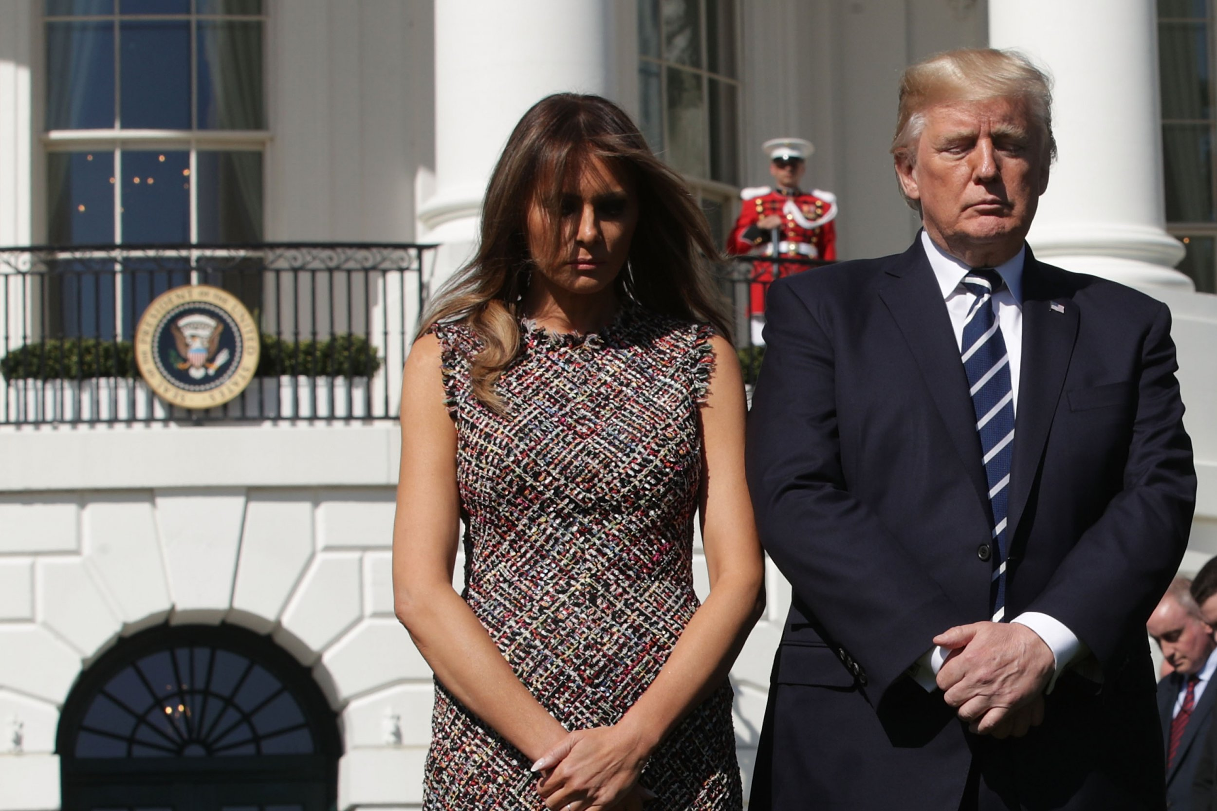 President Trump And First Lady Melania Trump Hold Moment Of Silence For Victims Of Las Vegas Shooting