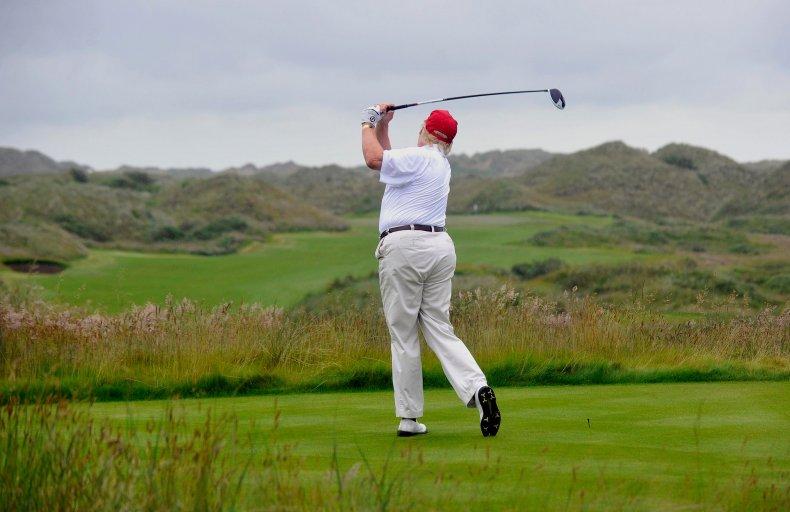 Donald Trump golfing, driving in Scotland