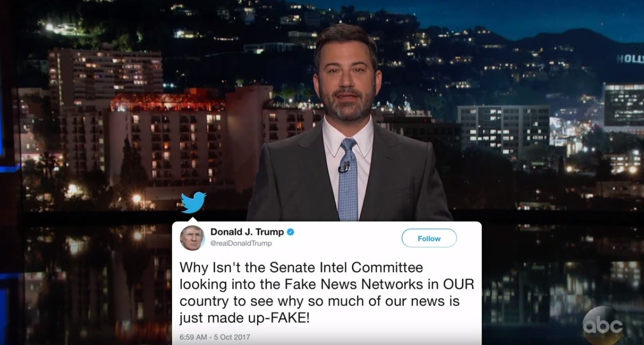 Trump is a tornado of fake news, says Kimmel