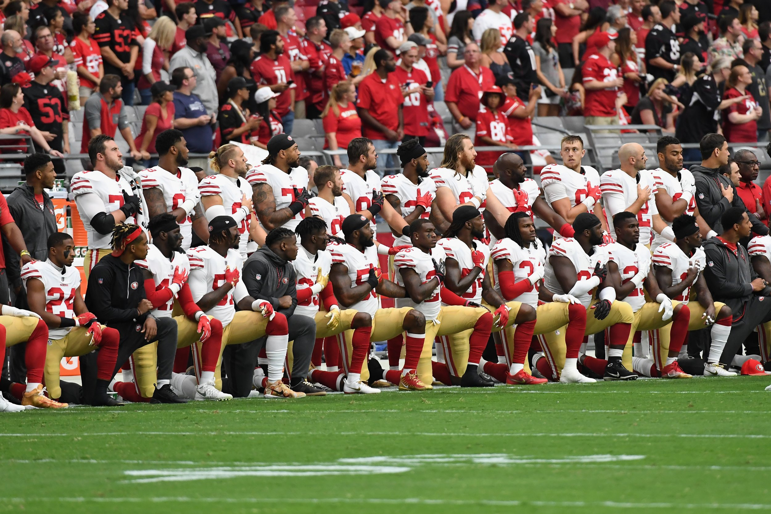 Members of the San Francisco 49ers in Glendale, Arizona, October 1.