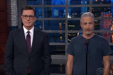 Stephen Colbert and Jon Stewart mock Trump