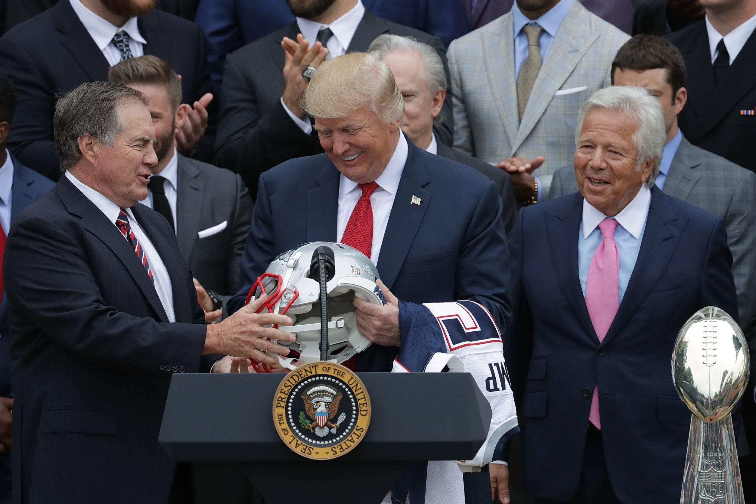 U.S. President Donald Trump, center.