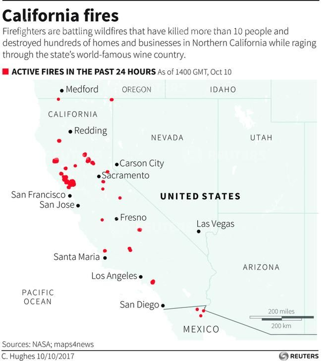 Napa Fire Map Napa Valley Timeline Death Toll Smoke Impact From