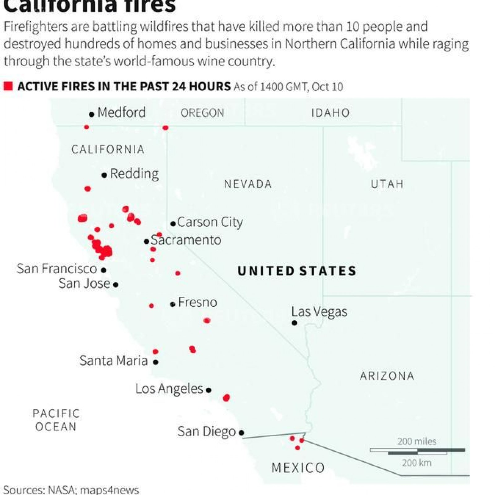 Fire Northern California Map.Napa Fire Map Napa Valley Timeline Death Toll Smoke Impact From