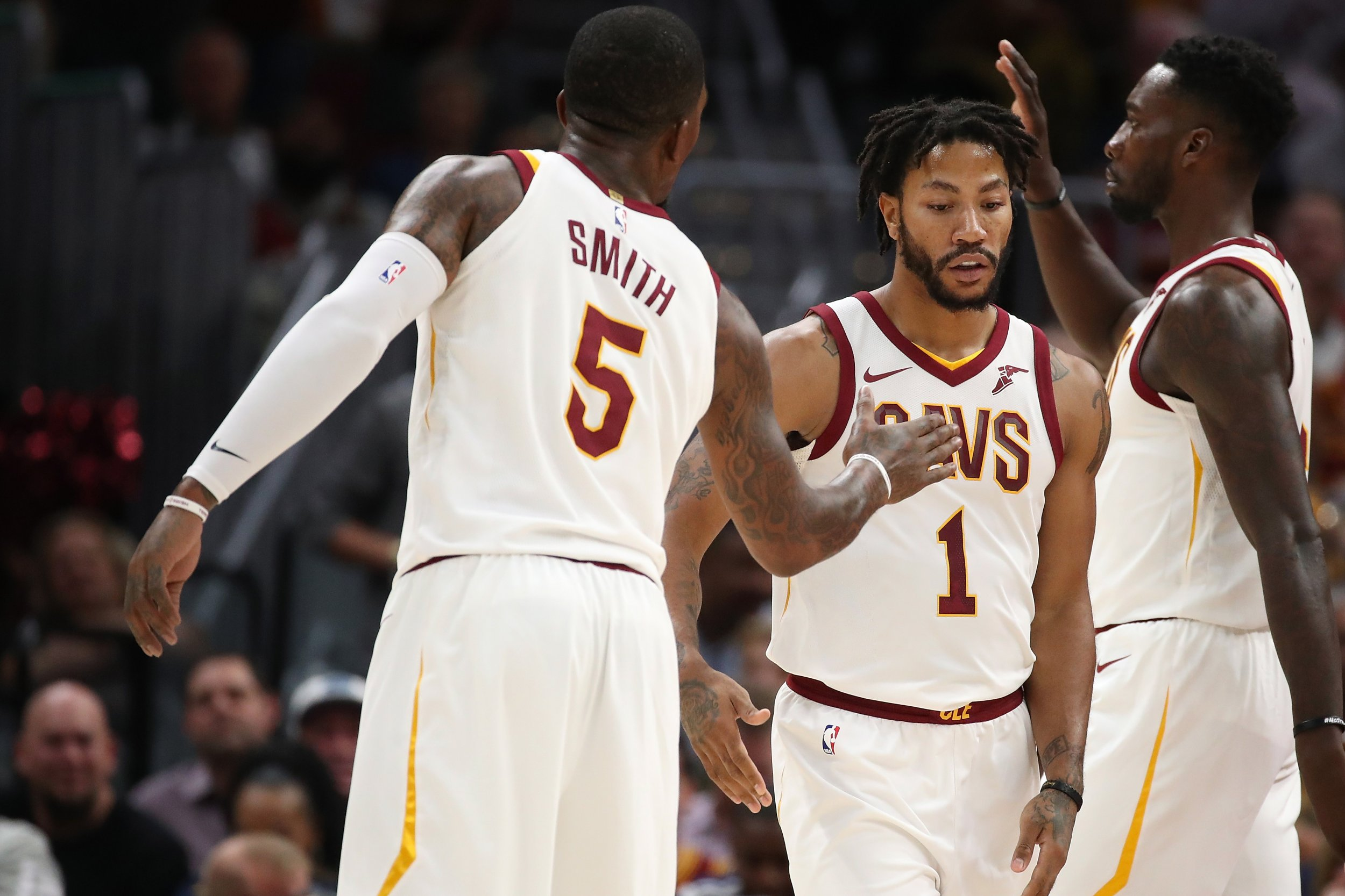 Cleveland Cavaliers point guard Derrick Rose, right.