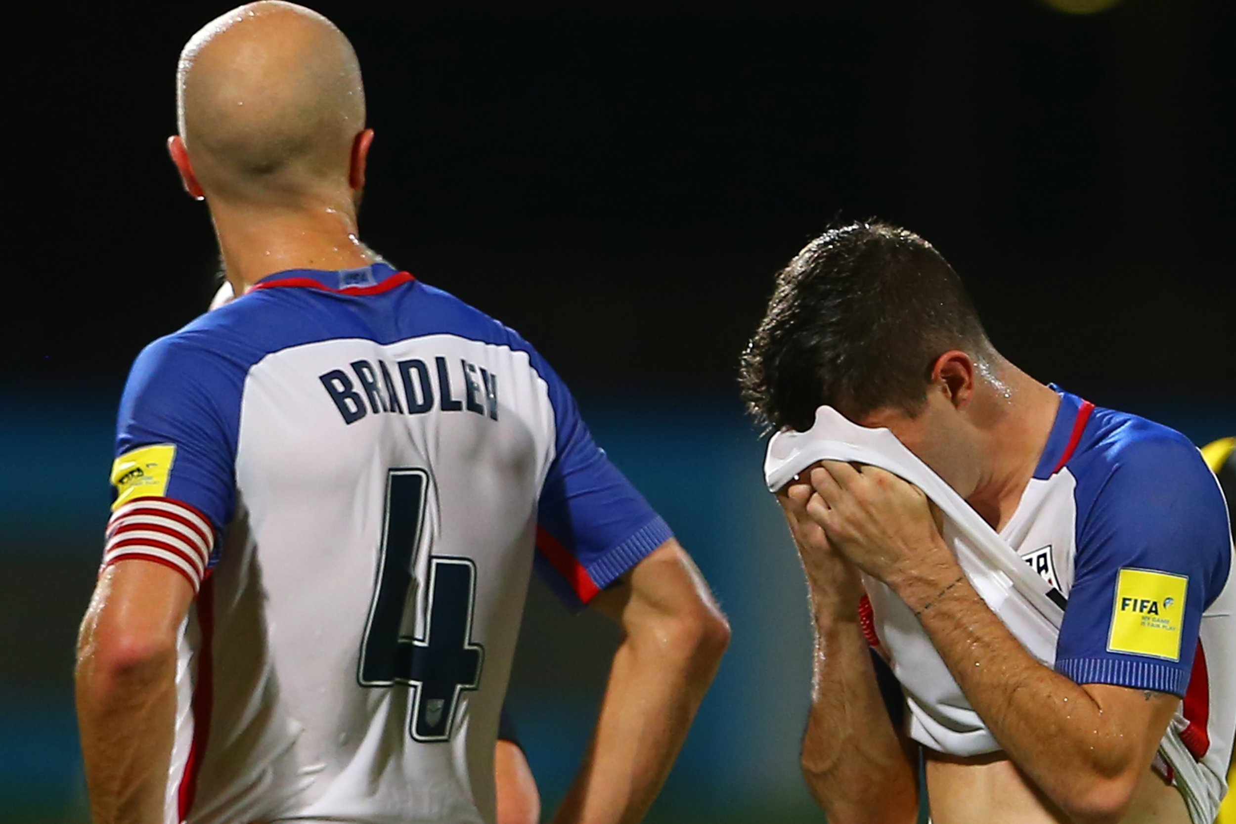 Michael Bradley, left, and Christian Pulisic at the Ato Boldon Stadium, Couva, Trinidad and Tobago, October 10.