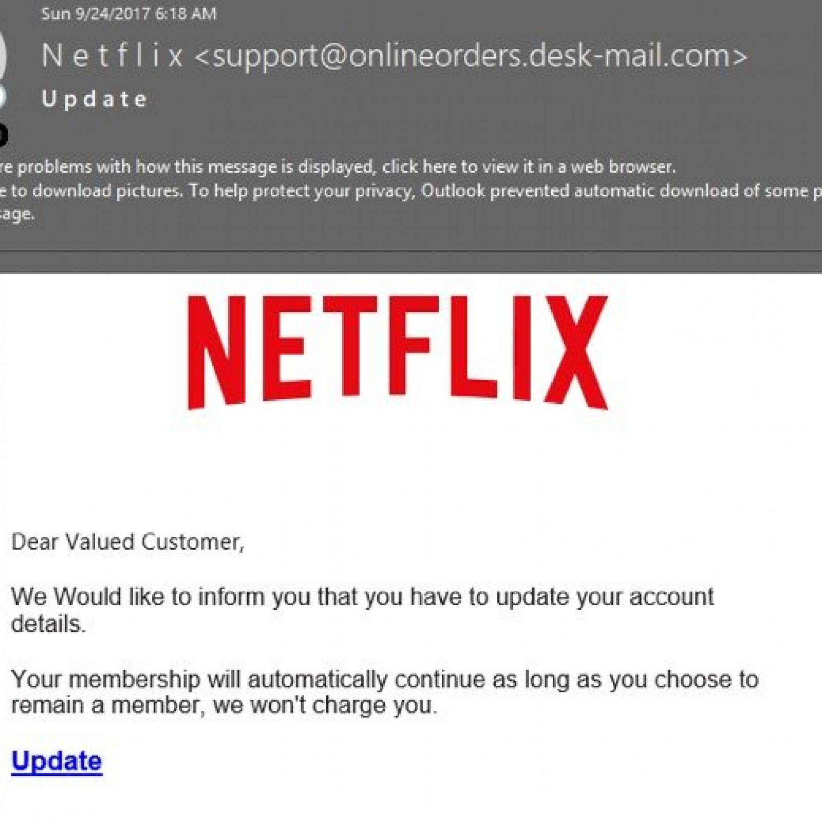 Netflix Phishing Campaign Steals Customers Credit Card Details