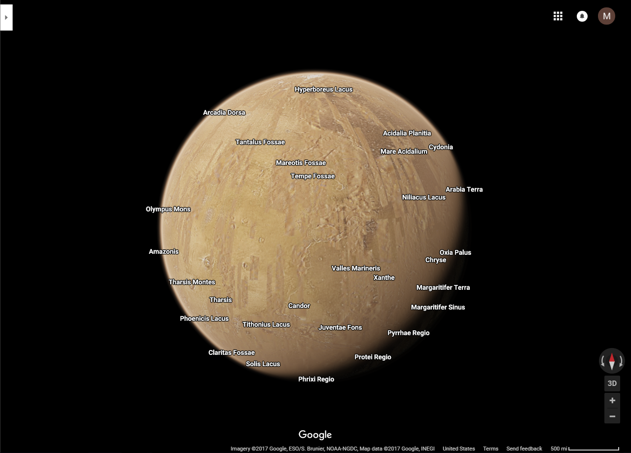 Google Maps Does The Solar System Explore Mars Venus