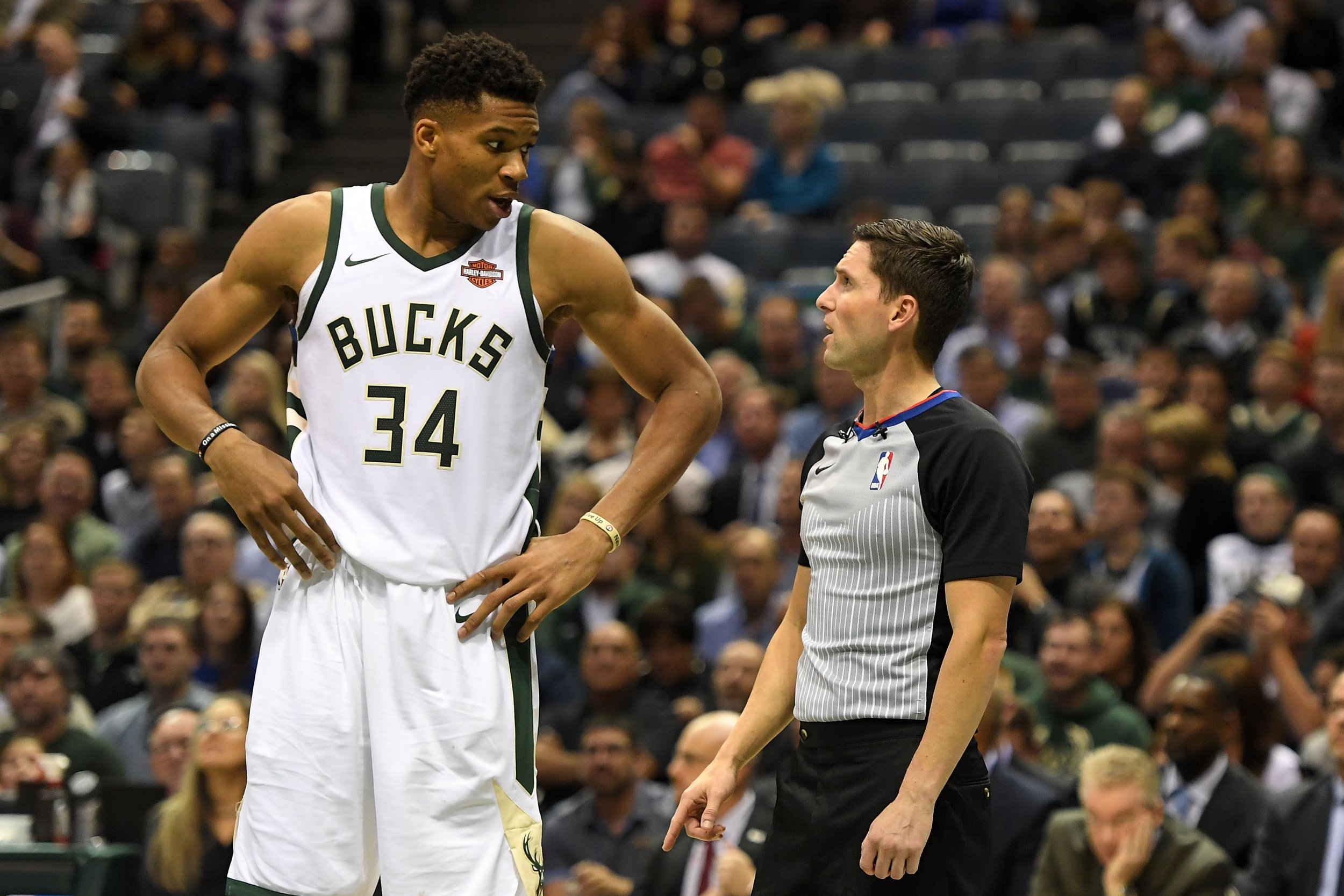 Milwaukee Bucks star Giannis Antetokounmpo, left.