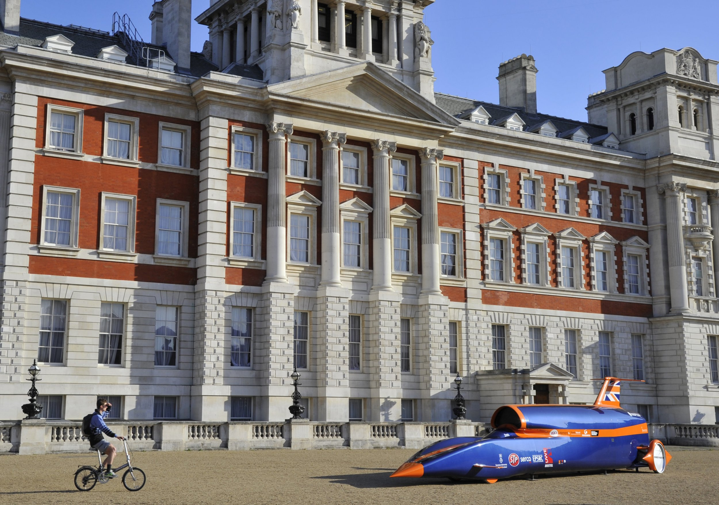 Bloodhound SSC jet and rocket-powered car in Horseguards in central London, April 12 2011.