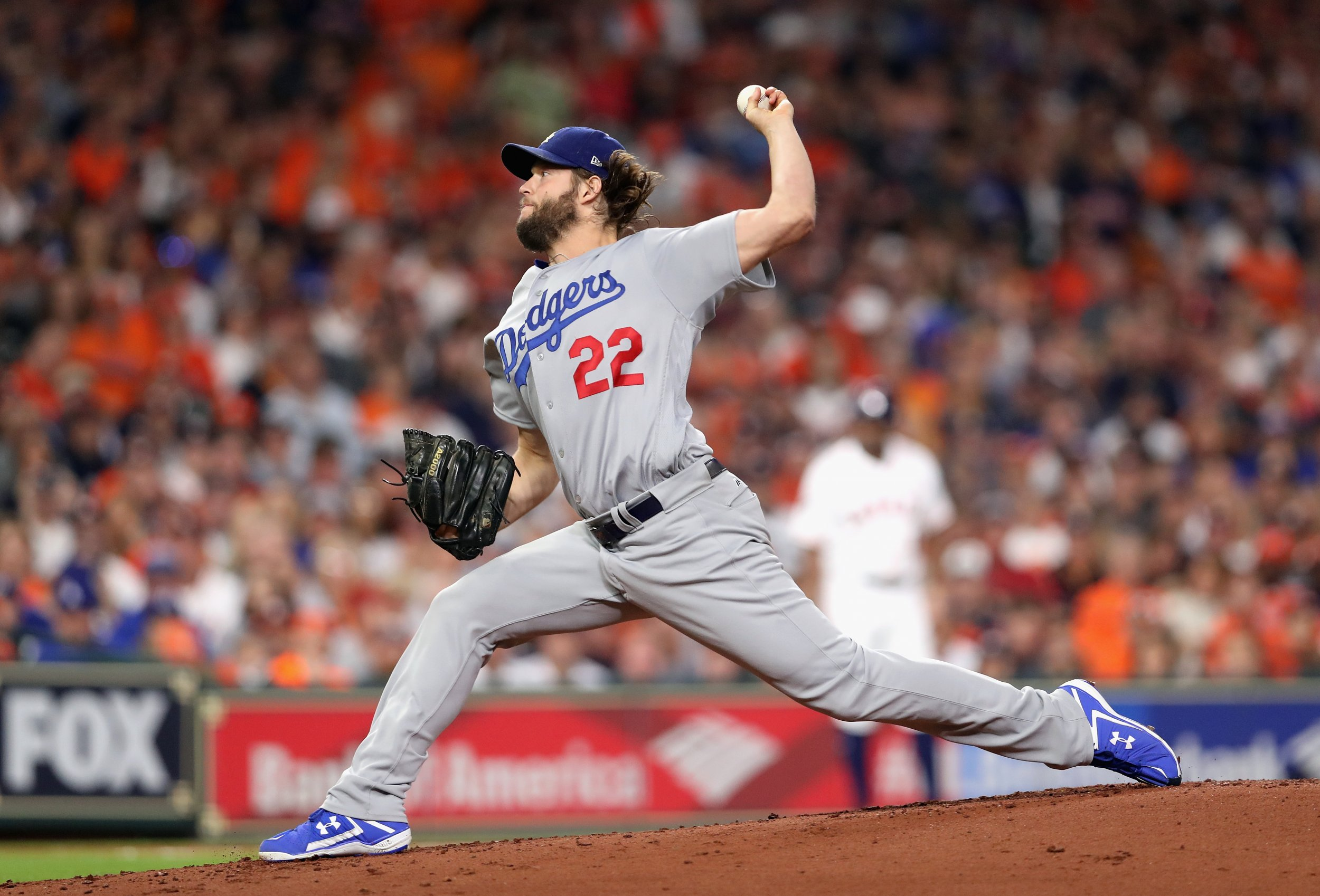 Clayton Kershaw of the Los Angeles Dodgers at Minute Maid Park, Houston, October 29.