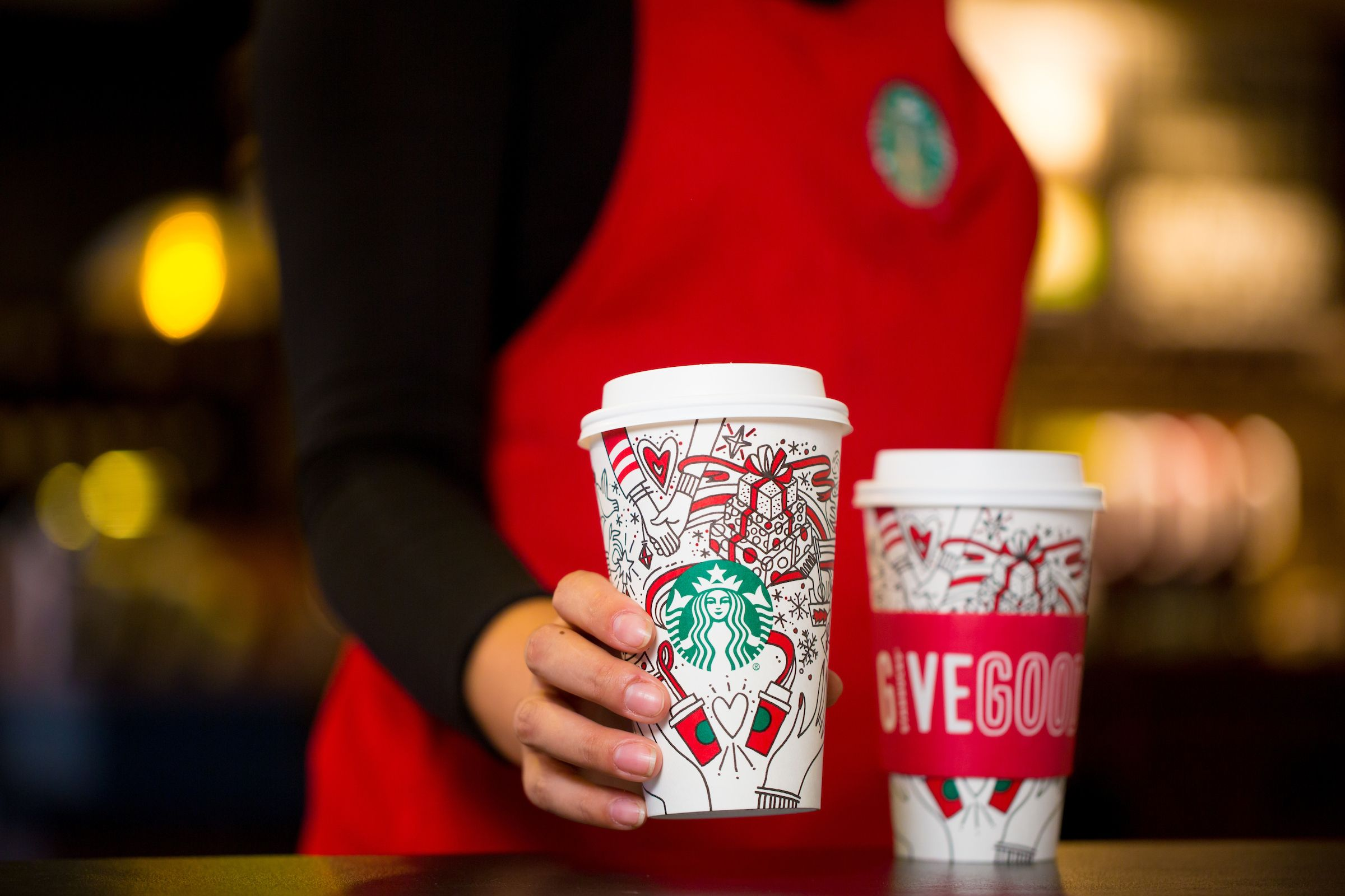 Starbucks red cup is no longer red
