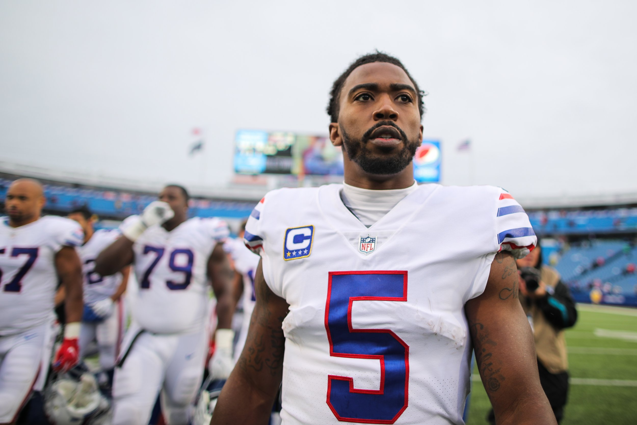 Tyrod Taylor of the Buffalo Bills at New Era Field, Orchard Park, New York, October 29.
