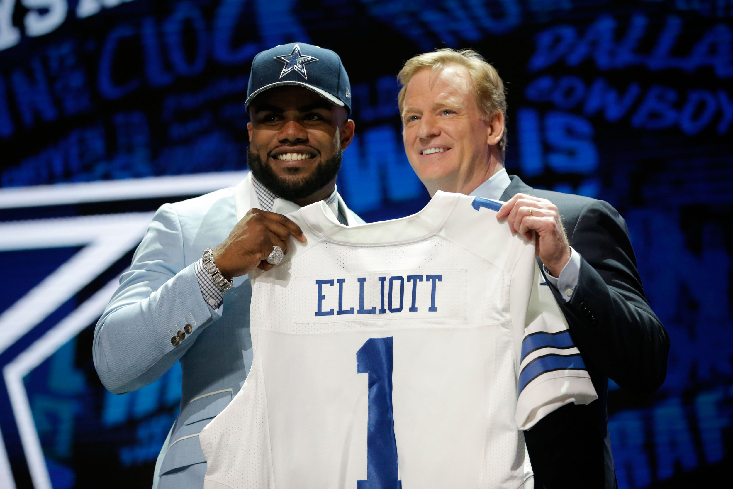 Dallas Cowboys running back Ezekiel Elliott, left, with NFL Commissioner Roger Goodell.