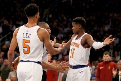 New York Knicks point guard Frank Ntilikina, right.