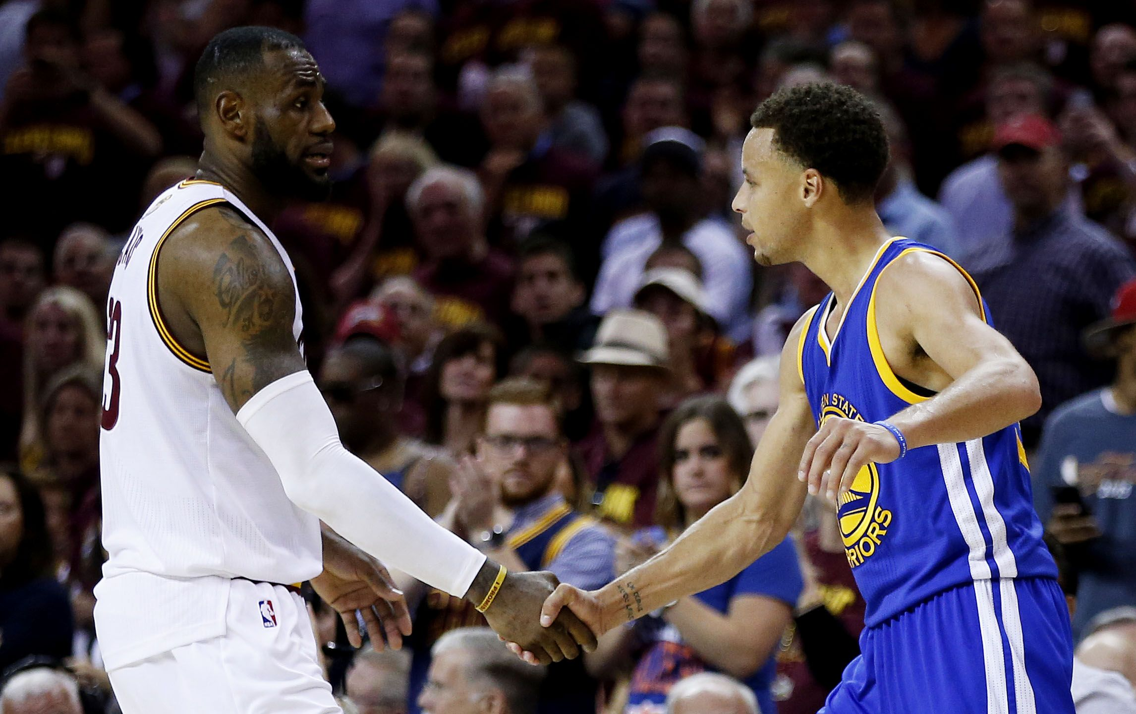 LeBron James, left, and Stephen Curry.