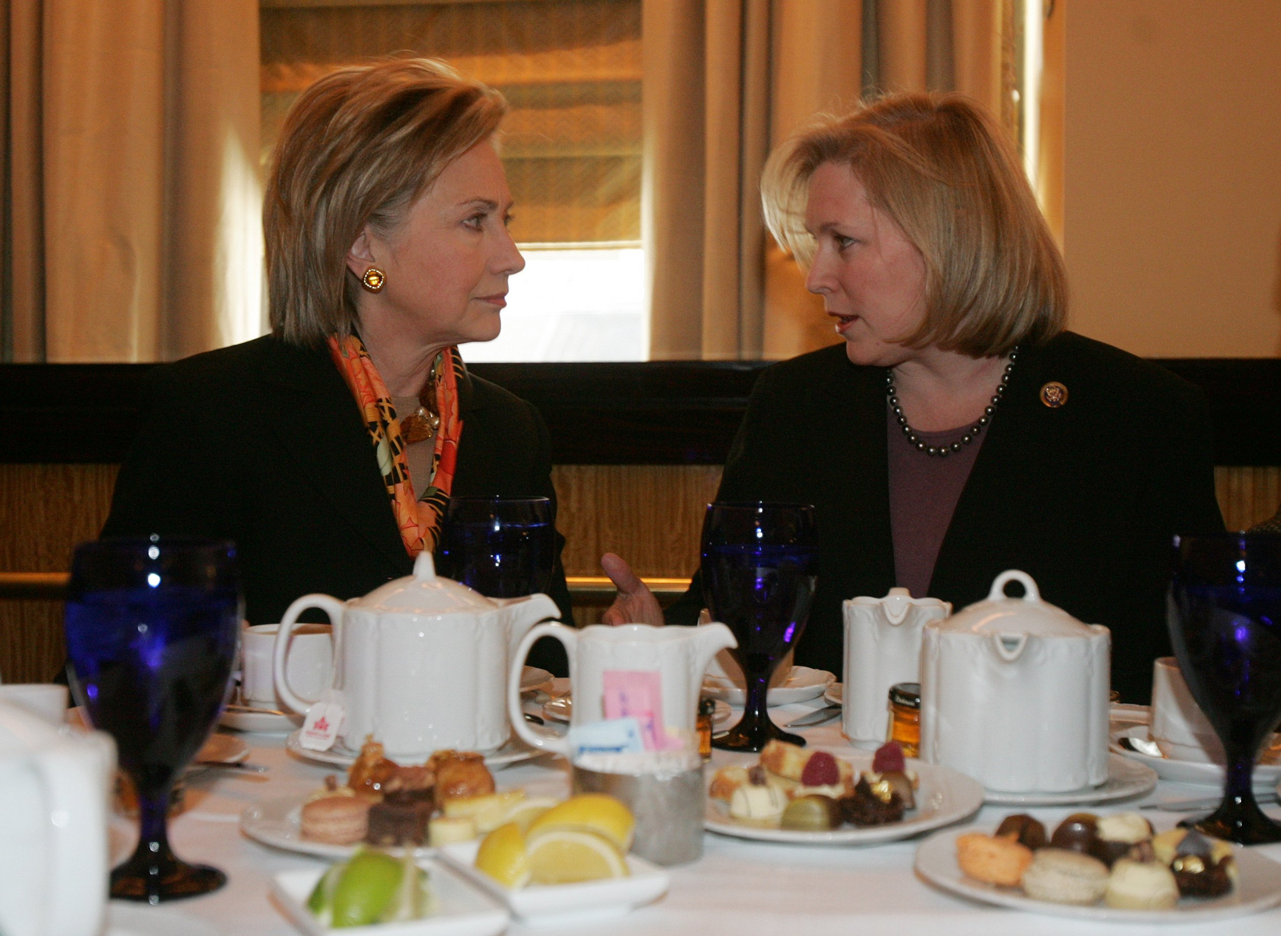 Image result for kirsten gillibrand drinking with hillary clinton