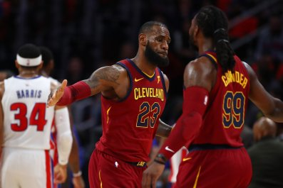 Cleveland Cavaliers small forward LeBron James, center.