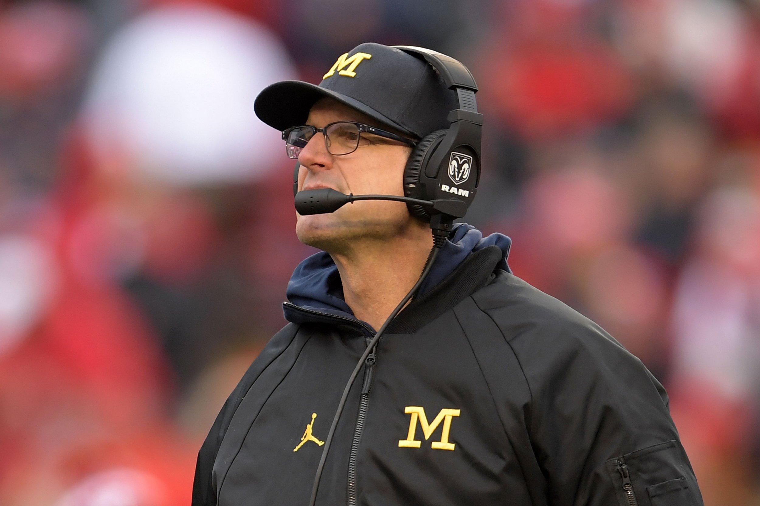 University of Michigan head football coach Jim Harbaugh.