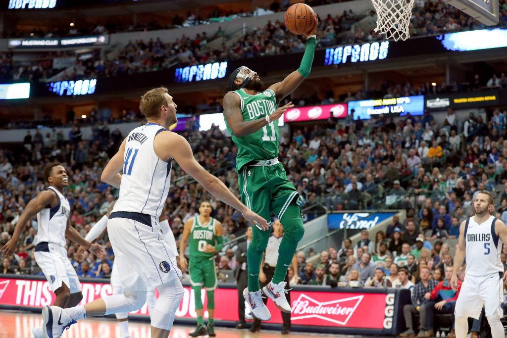 Irving Drives At Basket