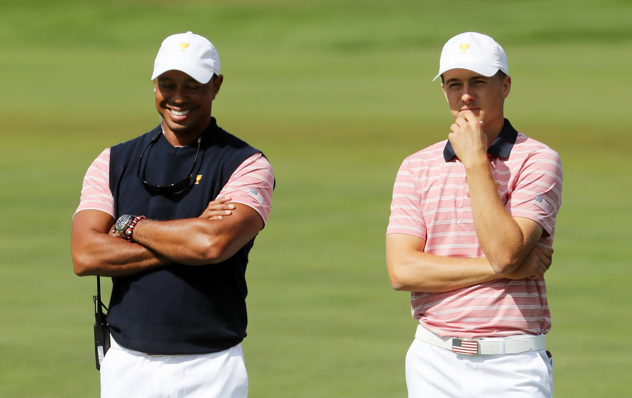 Former world number one Tiger Woods, left, with Jordan Spieth.