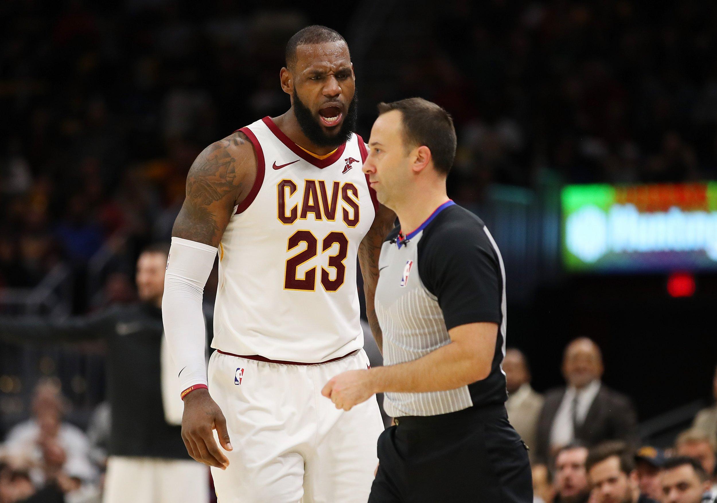 Cleveland Cavaliers forward LeBron James, left.