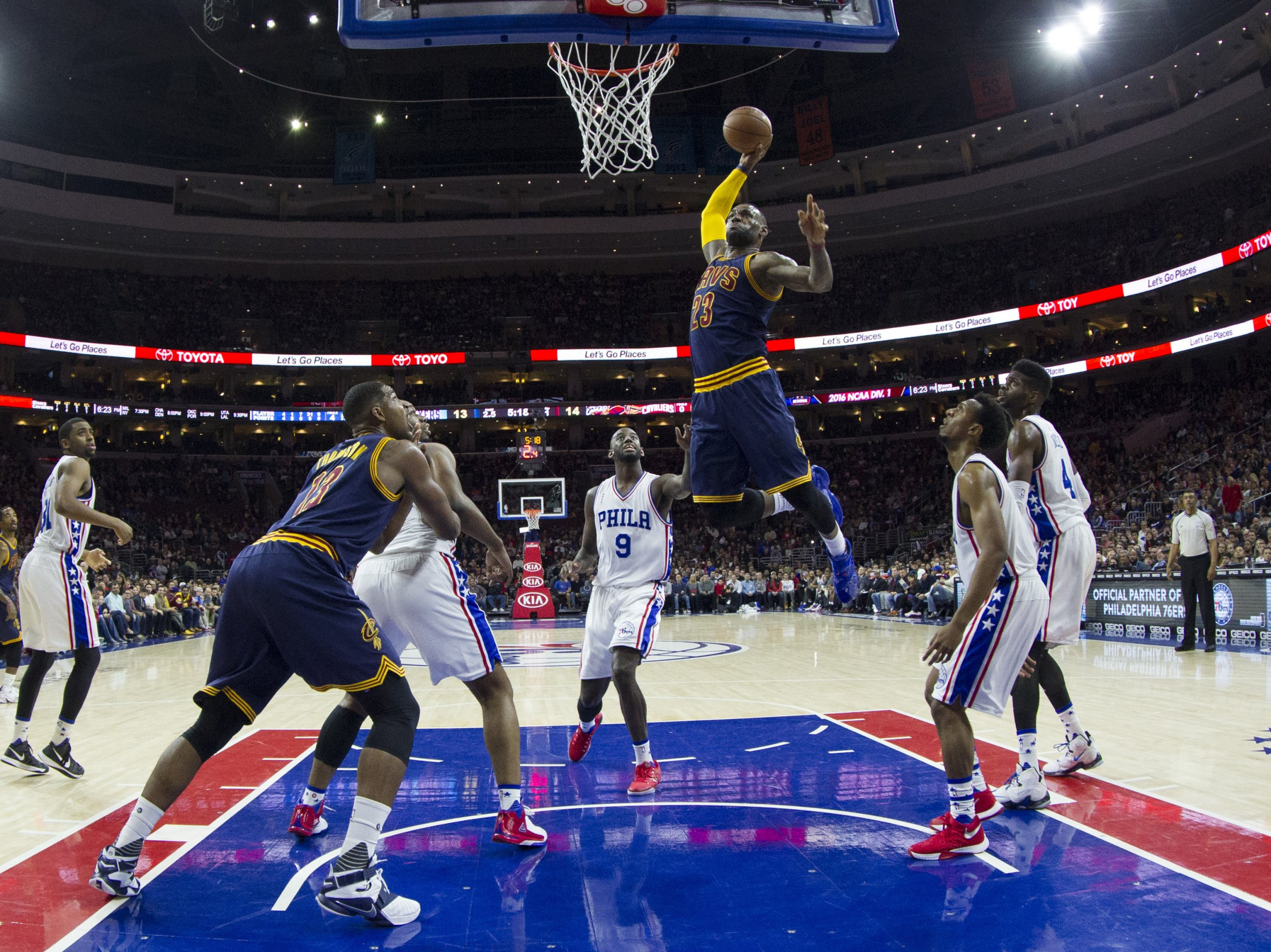 70d330614 LeBron James of the Cleveland Cavaliers dunks the ball against the  Philadelphia 76ers on January 10