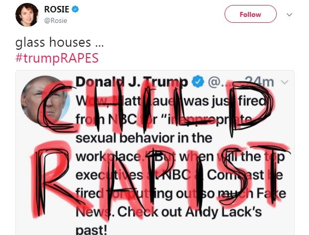 "Rosie O'Donnell: Trump is a ""child rapist"""