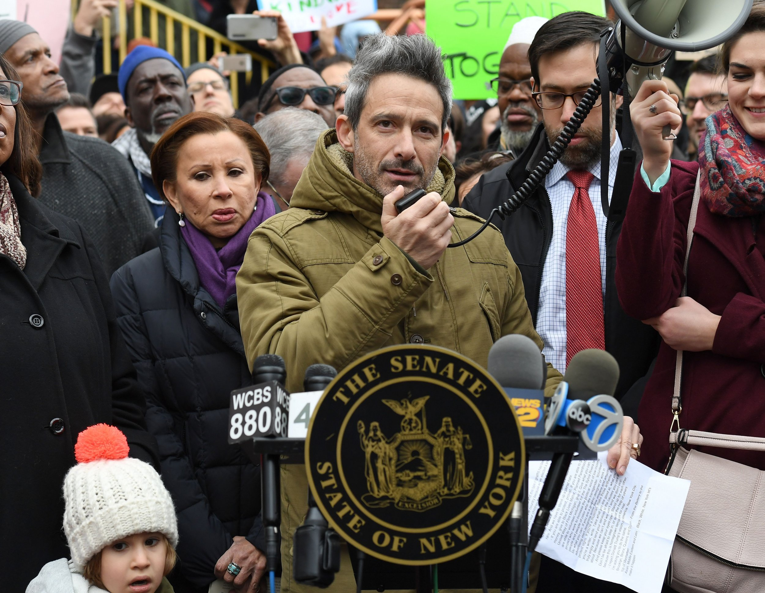Adam Ad Rock Horovitz Of The Beastie Boys Speaks As Activists Protest Racism And After S Were Found In Yauch Park Brooklyn New York