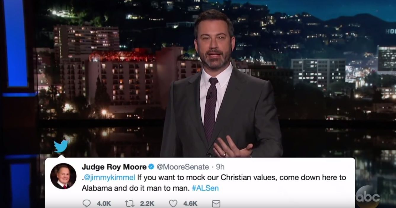 Jimmy Kimmel challenges Roy Moore to fight