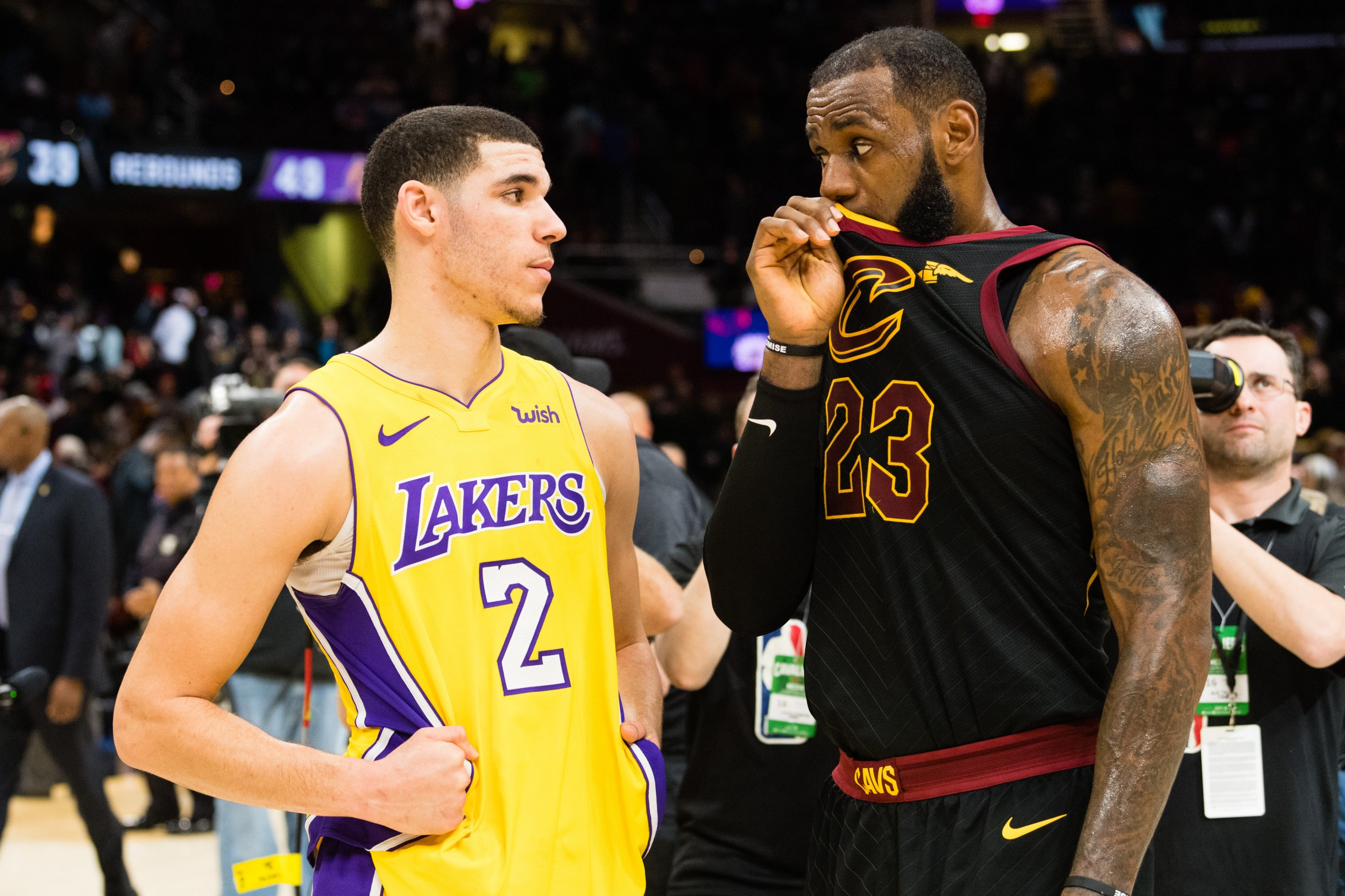 Lonzo Ball, left, with LeBron James.