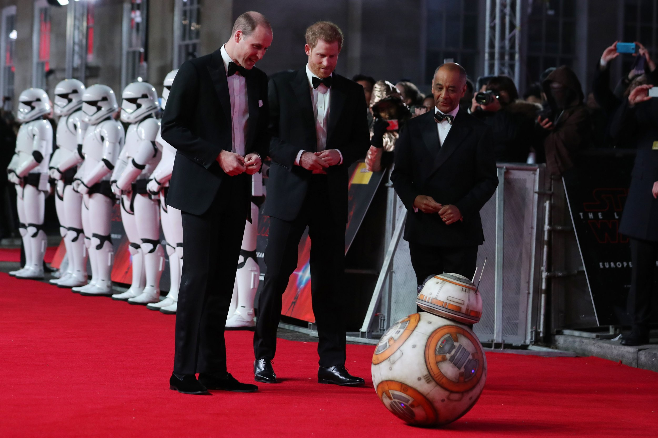 Princes William and Harry at Star Wars premiere