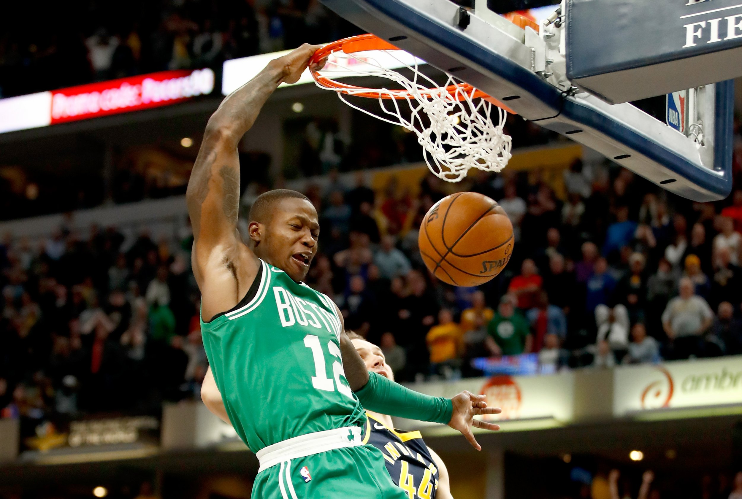 Terry Rozier of the Boston Celtics at Bankers Life Fieldhouse, Indianapolis, Indiana, December 18.
